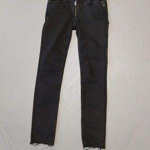 All Saints Black Track Ankle Jeans Front Zipper 27